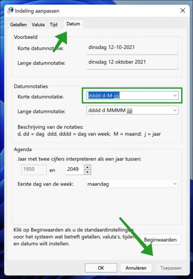 dag van de week toevoegen aan tijd en datum in de taakbalk