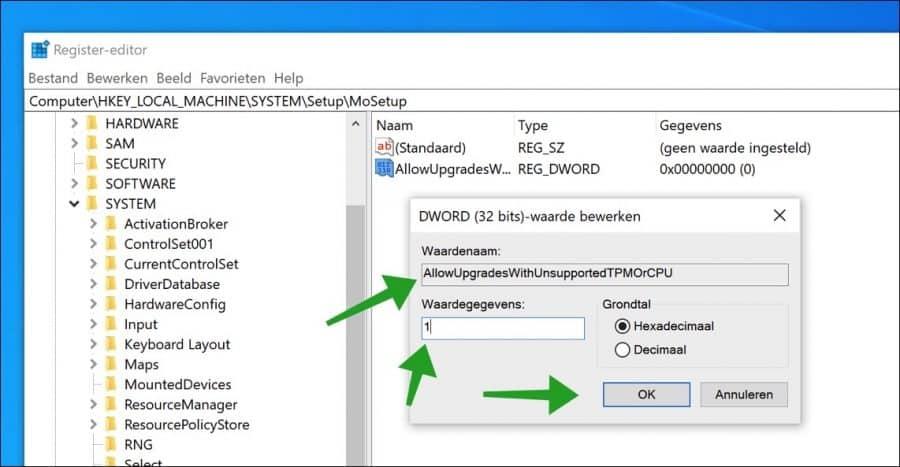 mosetup windows 11 sleutel register