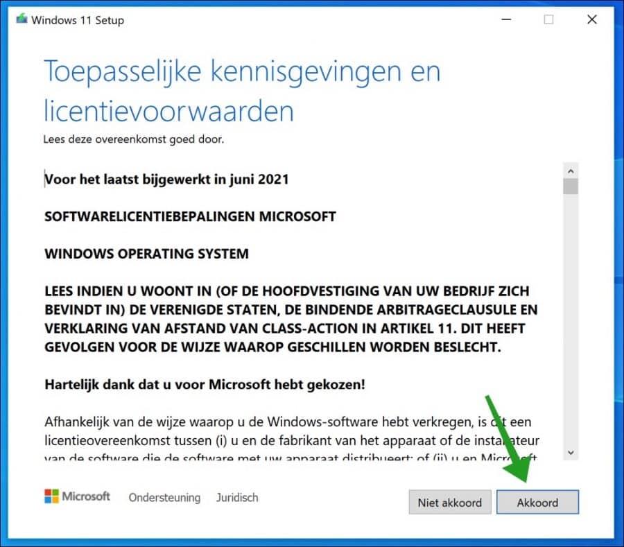 windows 11 voorwaarden accepteren